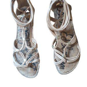 Sam Edelman tan strappy peep toe sandals 8.5